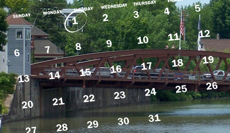 Image: Fairport Bridge with a calendar graphic overlay